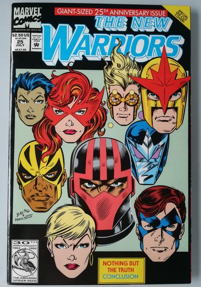 Cover image of The New Warriors n. 25 ( Marvel 1992 ) Giant-Sized 25th Issue Die-Cut Cover, color