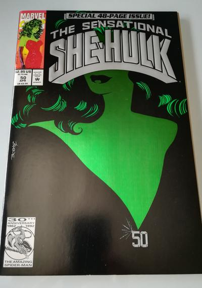 Cover image of The Sensational She-Hulk n.50 ( Marvel 1993 ) Green Foil Cleavage Cover, color