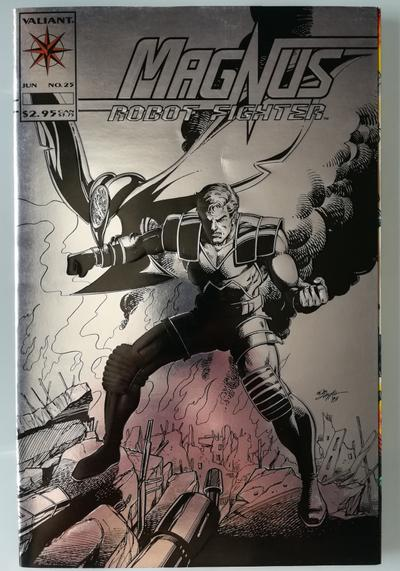 Cover image of Magnus Robot Fighter n.25 ( Valiant Comics 1993 ) Embossed Silver cover, color